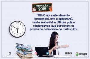SEDUC abre atendimento aos pais e responsáveis que perderam os prazos do calendário de matrículas