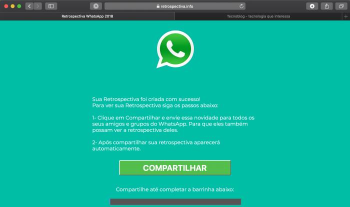 """Mais de 330 mil pessoas caíram no Golpe """"Retrospectiva do Whatsapp 2018"""""""