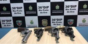 Quadrilha é presa por desviar armas apreendidas pela polícia em Rio Preto da Eva, no AM