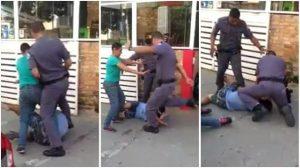 Policiais agridem violentamente casal de carroceiros na rua e causa revolta. Confira o vídeo!