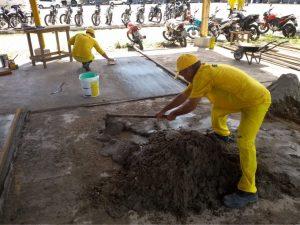Presos trabalham na construção e reforma dos batalhões da Polícia Militar