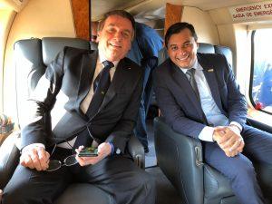 Bolsonaro e Wilson Lima sobrevoam área do Distrito Industrial, em Manaus