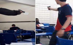 Estudantes apontam armas de fogo dentro de escola supostamente em Manaus  Uma aluna, rev