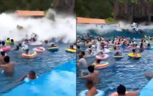 Falha em piscina causa onda gigante e deixa 44 feridos na China; Confira o vídeo!
