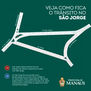Trecho da avenida São Jorge terá sentido único a partir da terça-feira, 11/8.
