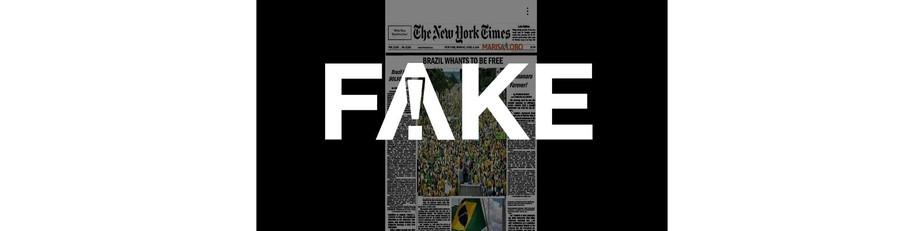 É #FAKE capa do New York Times enaltecendo atos pró-Bolsonaro no Dia do Trabalho